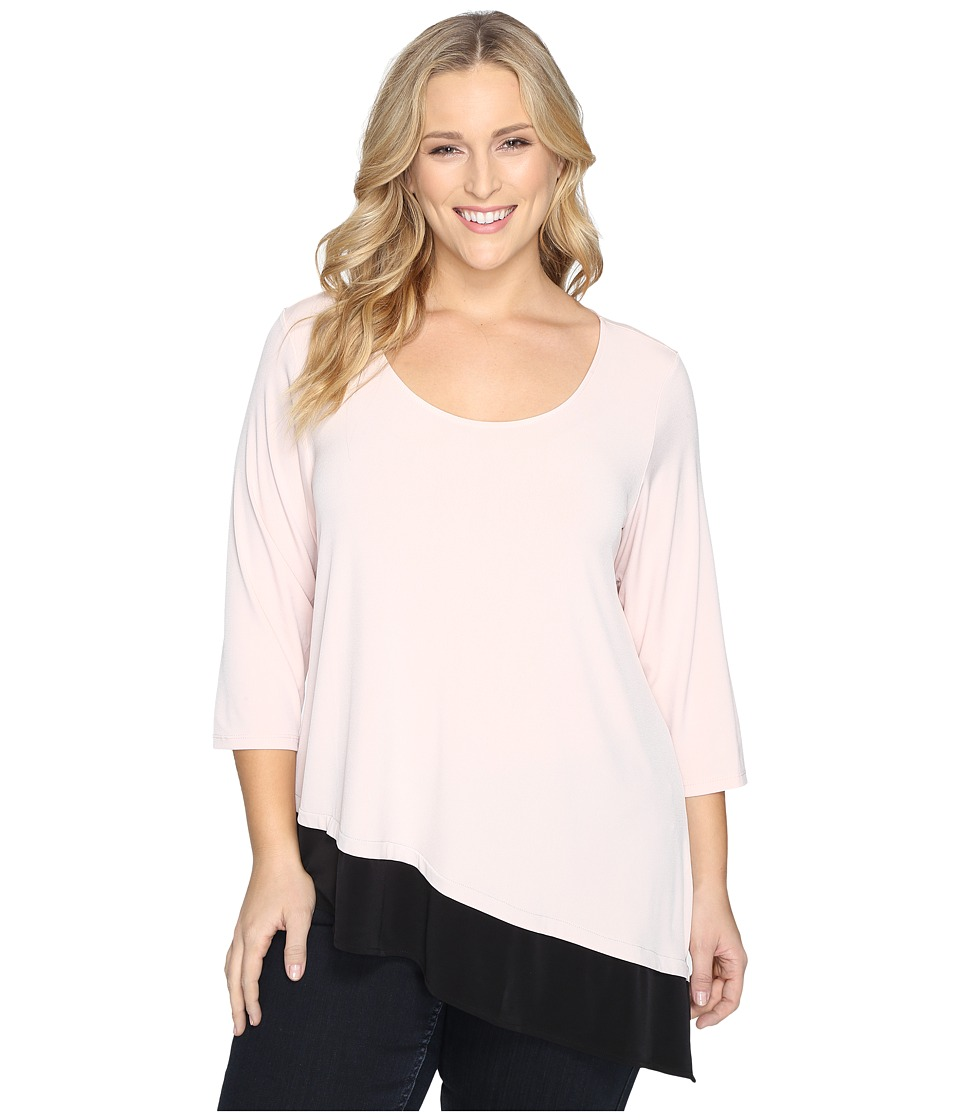 Calvin Klein Plus - Plus Size 3/4 Sleeve Double Layer Angle Top (Blush) Women's Long Sleeve Pullover