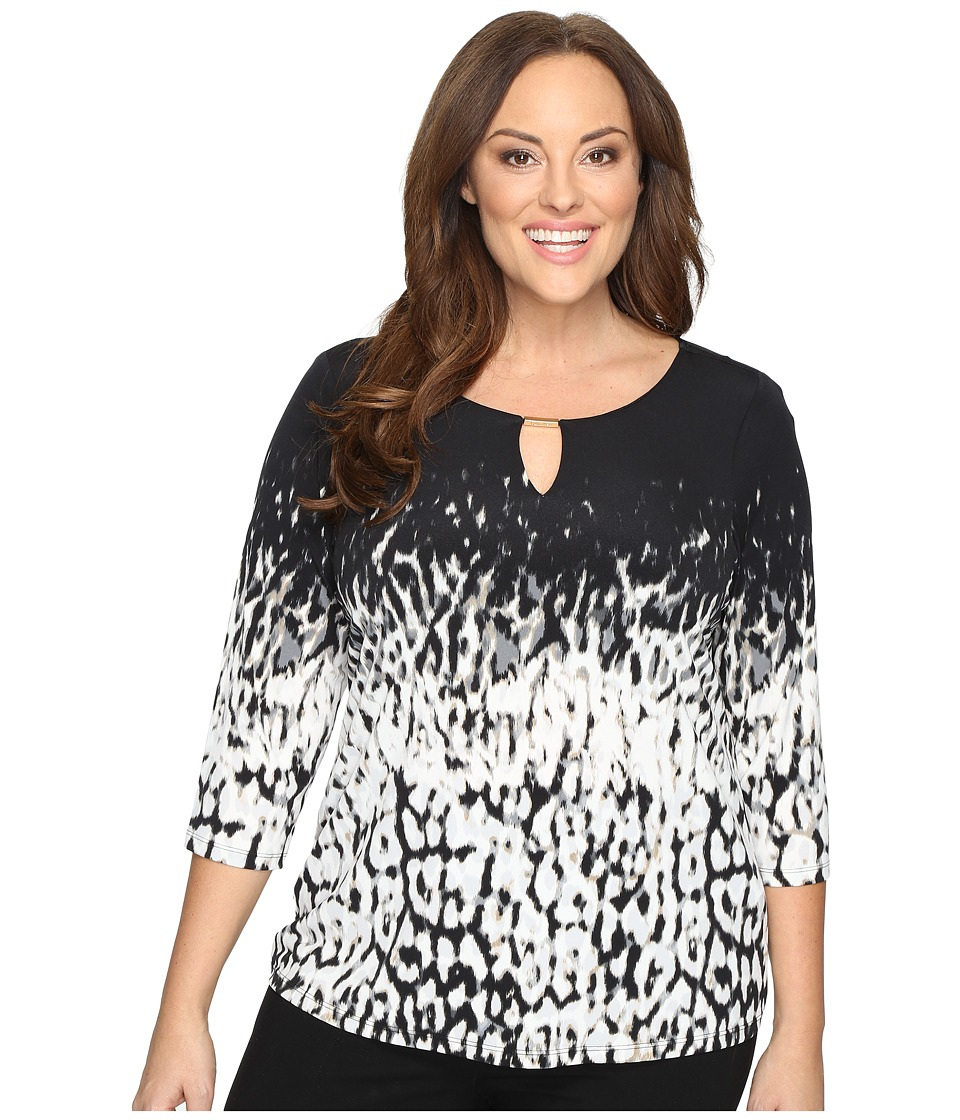 Calvin Klein Plus - Plus Size 3/4 Sleeve Print Top (Black/Light Grey) Women's Long Sleeve Pullover