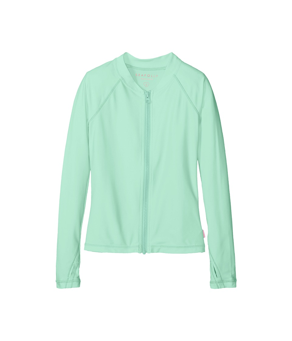 Seafolly Kids - Summer Essentials Long Sleeve Zip Rashie (Little Kids/Big Kids) (Mint) Girl's Swimwear