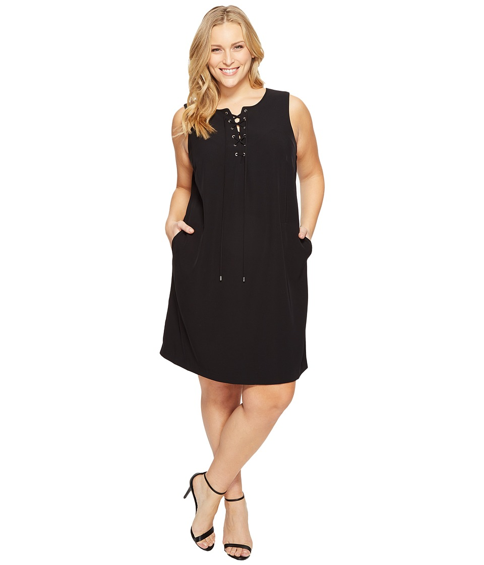 Calvin Klein Plus - Plus Size Sleeveless Lace-Up Dress (Black) Women's Dress