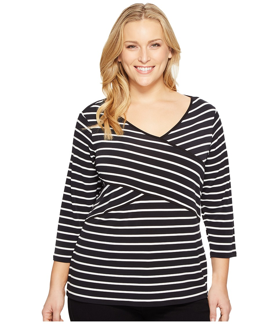 Calvin Klein Plus - Plus Size Long Sleeve Stripe Panel Top (Black/White Stripe/Black/White) Women's Long Sleeve Pullover