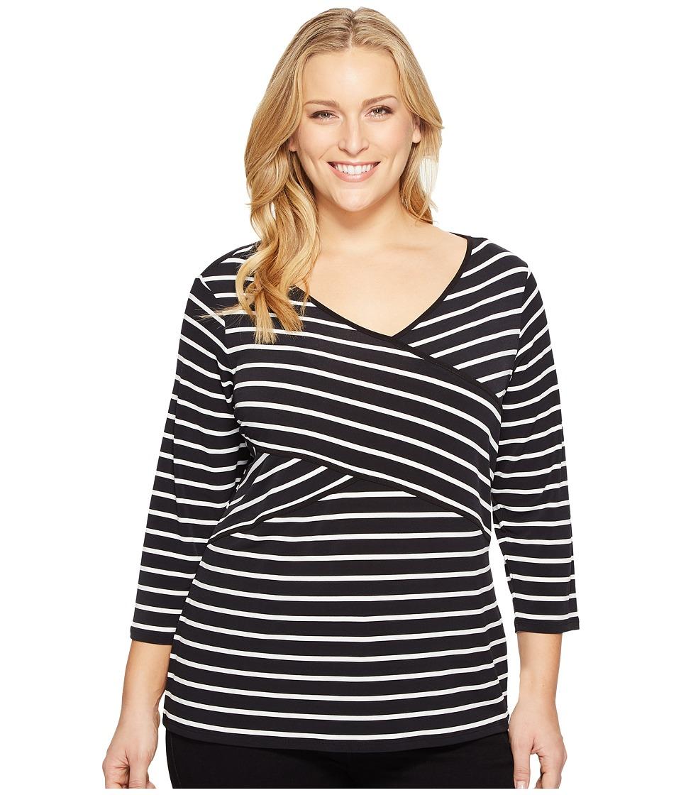 Calvin Klein Plus - Plus Size Long Sleeve Stripe Panel Top (Black/White Stripe/Black/White) Women's Long Sleeve Pullover