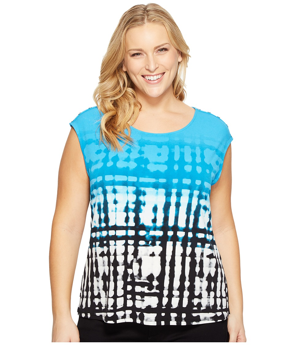 Calvin Klein Plus - Plus Size Extended Shoulder Printed Top w/ Buttons (Black/Adriatic) Women's Sleeveless