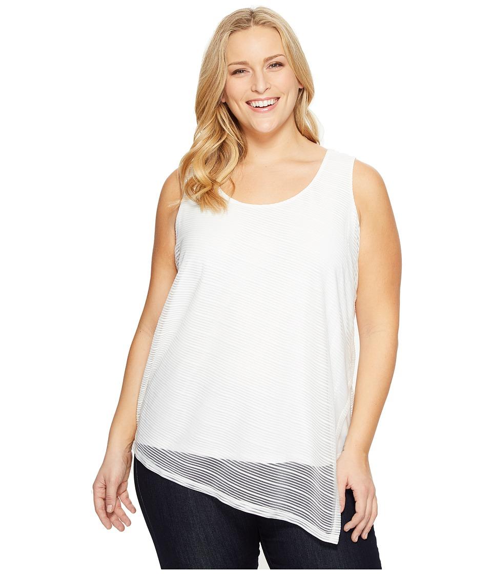 Calvin Klein Plus Plus Size Sleeveless Sheer Stripe Top (Soft White) Women