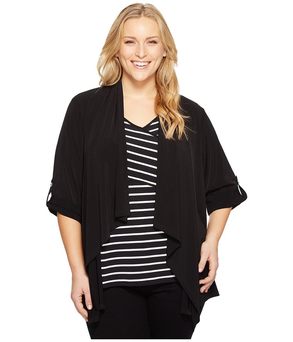 Calvin Klein Plus - Plus Size Roll Sleeve Open Flyaway Jacket (Black) Women's Coat