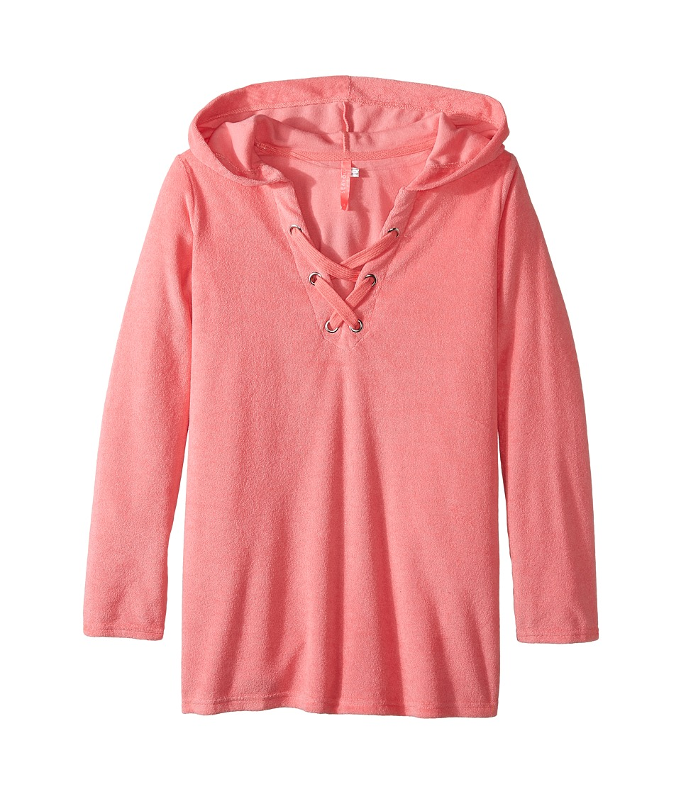 Seafolly Kids - Summer Essentials Hoodie (Little Kids/Big Kids) (Coral Pink) Girl's Sweatshirt