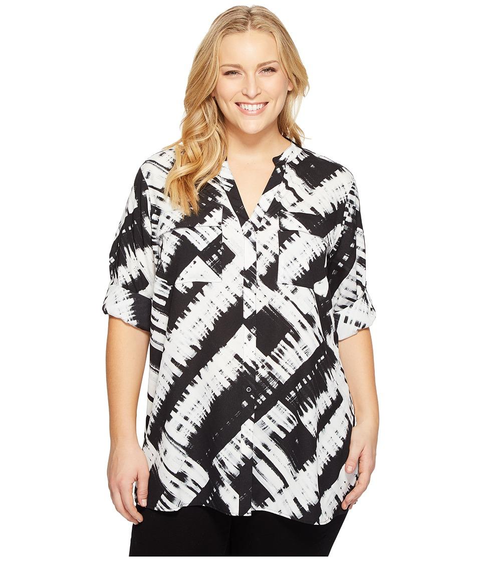 Calvin Klein Plus - Plus Size Printed Roll Sleeve Blouse (Black/White) Women's Blouse