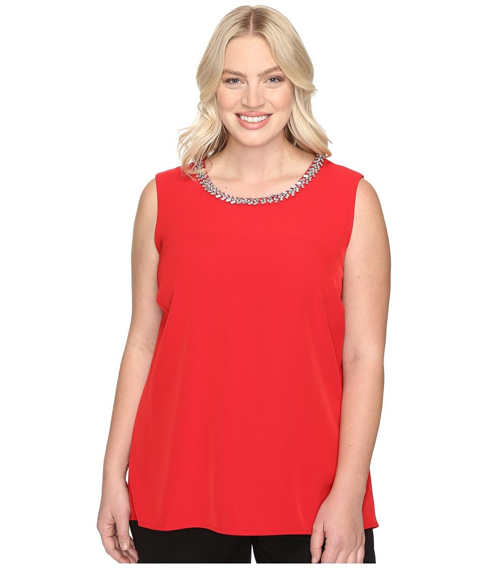 Calvin Klein Plus - Plus Size Embellished Shell Blouse (Rouge) Women's Sleeveless