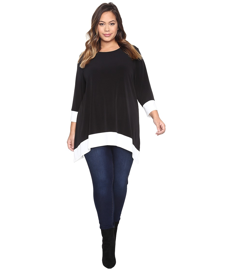 Calvin Klein Plus - Plus Size Long Sleeve Color Block Sharkbite Top (Black) Women's Long Sleeve Pullover