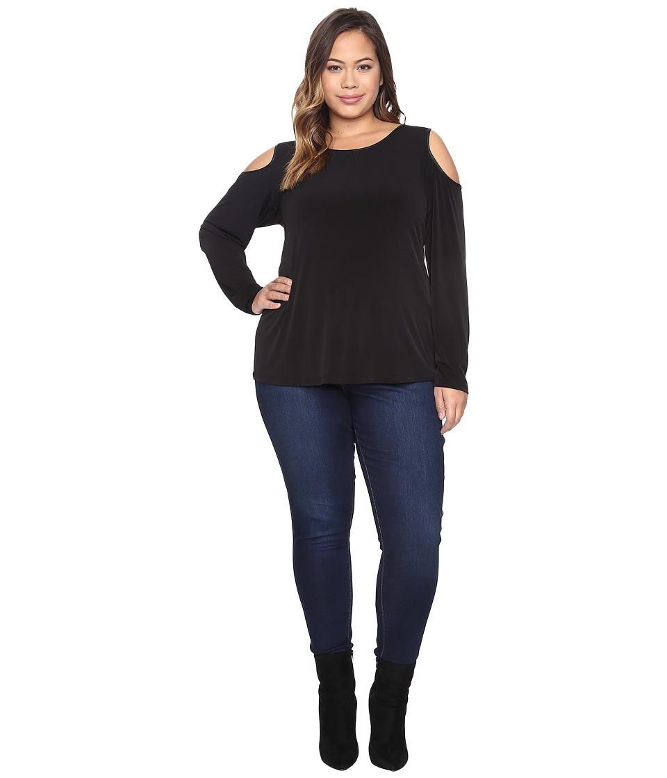 Calvin Klein Plus - Plus Size Long Sleeve Cold Shoulder Top w/ PU Trim (Black) Women's Long Sleeve Pullover
