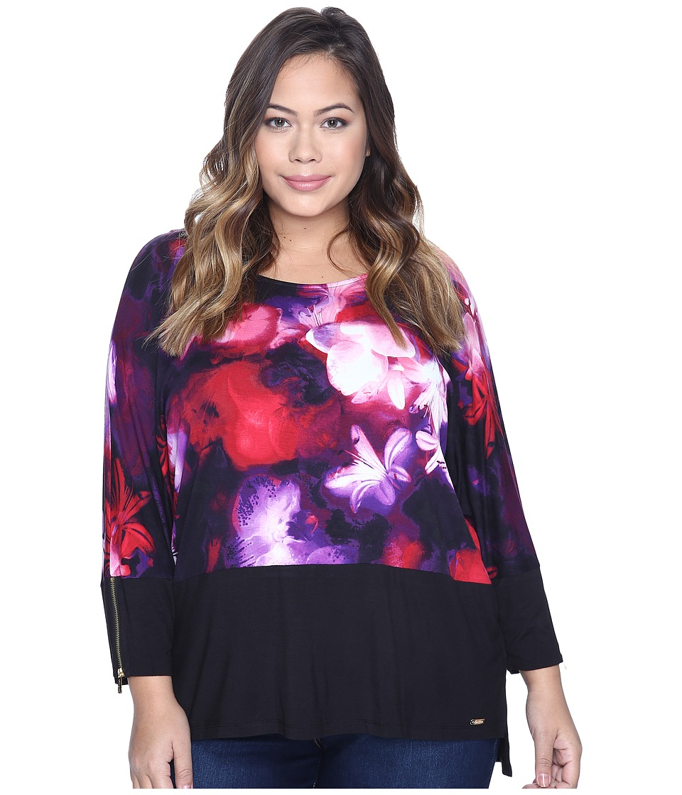 Calvin Klein Plus - Plus Size 3/4 Sleeve Dolman Top (Black/Rouge) Women's Long Sleeve Pullover