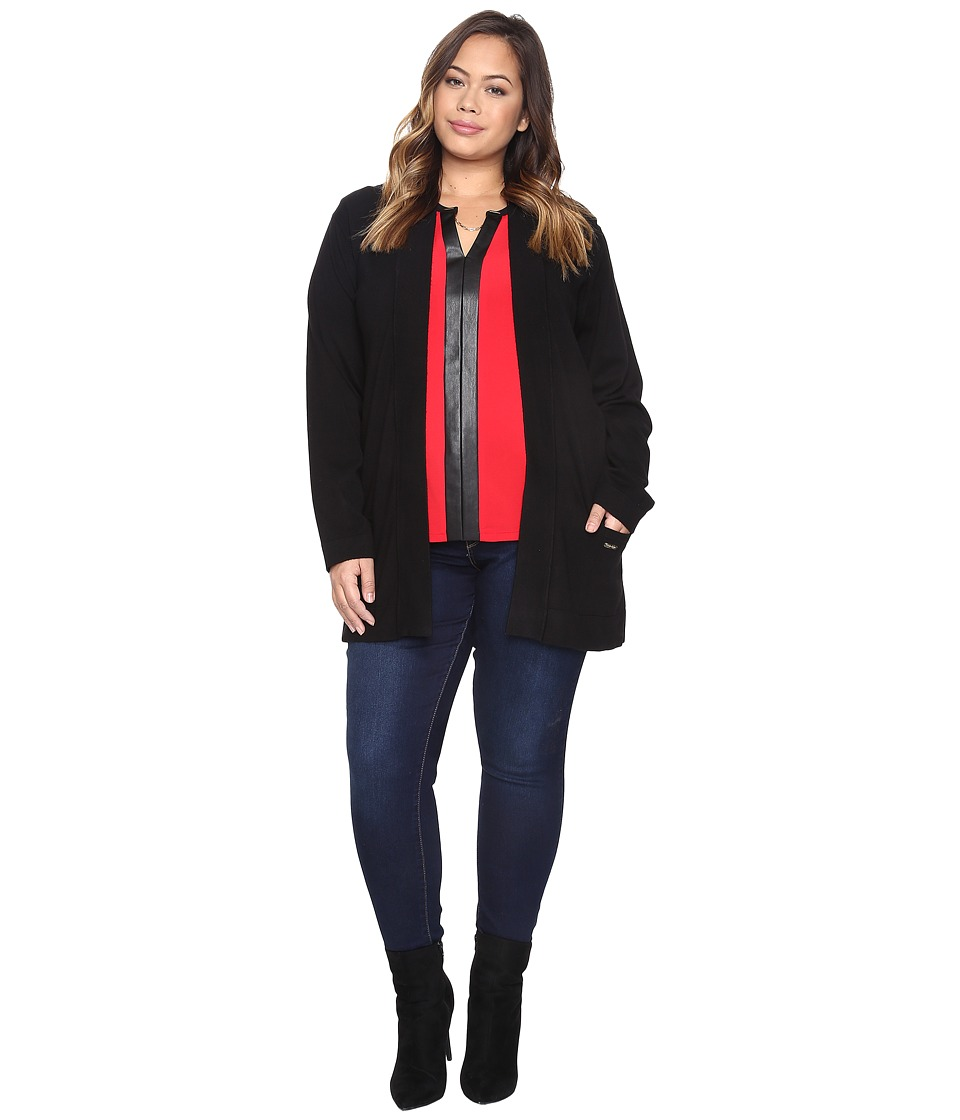Calvin Klein Plus - Plus Size Long Open Cardigan w/ Logo (Black) Women's Sweater