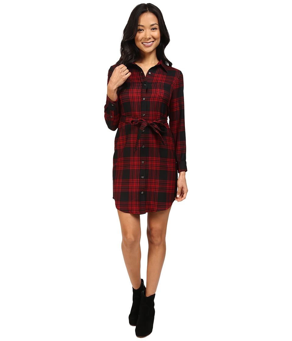 Pendleton Petite Cecily Shirtdress (Black/Red Rock Menzies Worsted Tartan) Women