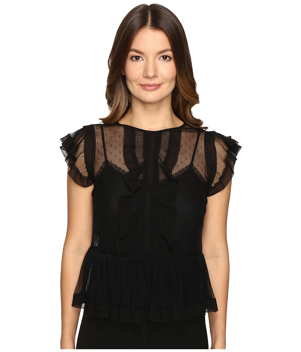 RED VALENTINO - Point D'Esprit and Tulle Top (Black) Women's Clothing