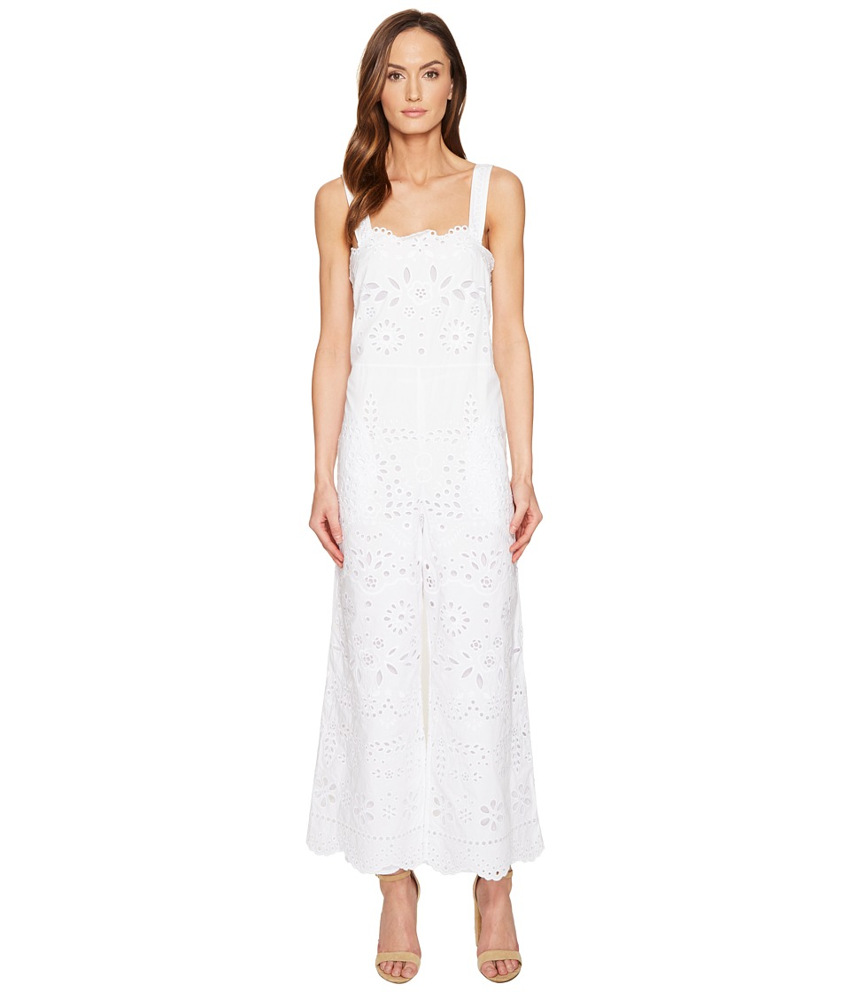 RED VALENTINO - Cotton Muslin and Sangallo Embroidery Jumpsuit (White) Women's Jumpsuit & Rompers One Piece