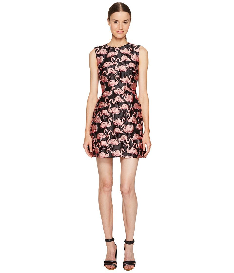 RED VALENTINO - Flamingo Brocade Dress (Black) Women's Dress