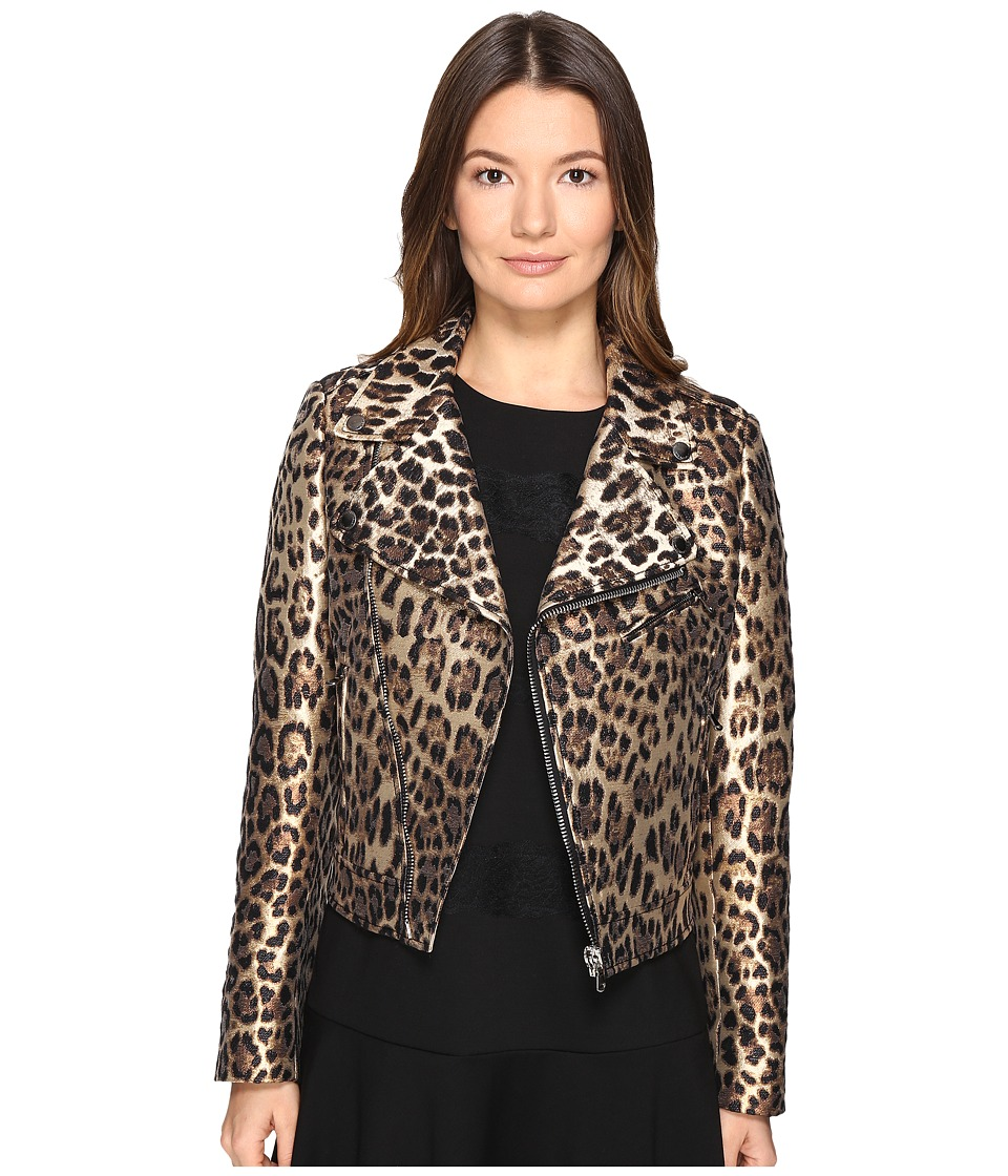 RED VALENTINO - Leopard Jacqaurd Jacket (Black) Women's Coat