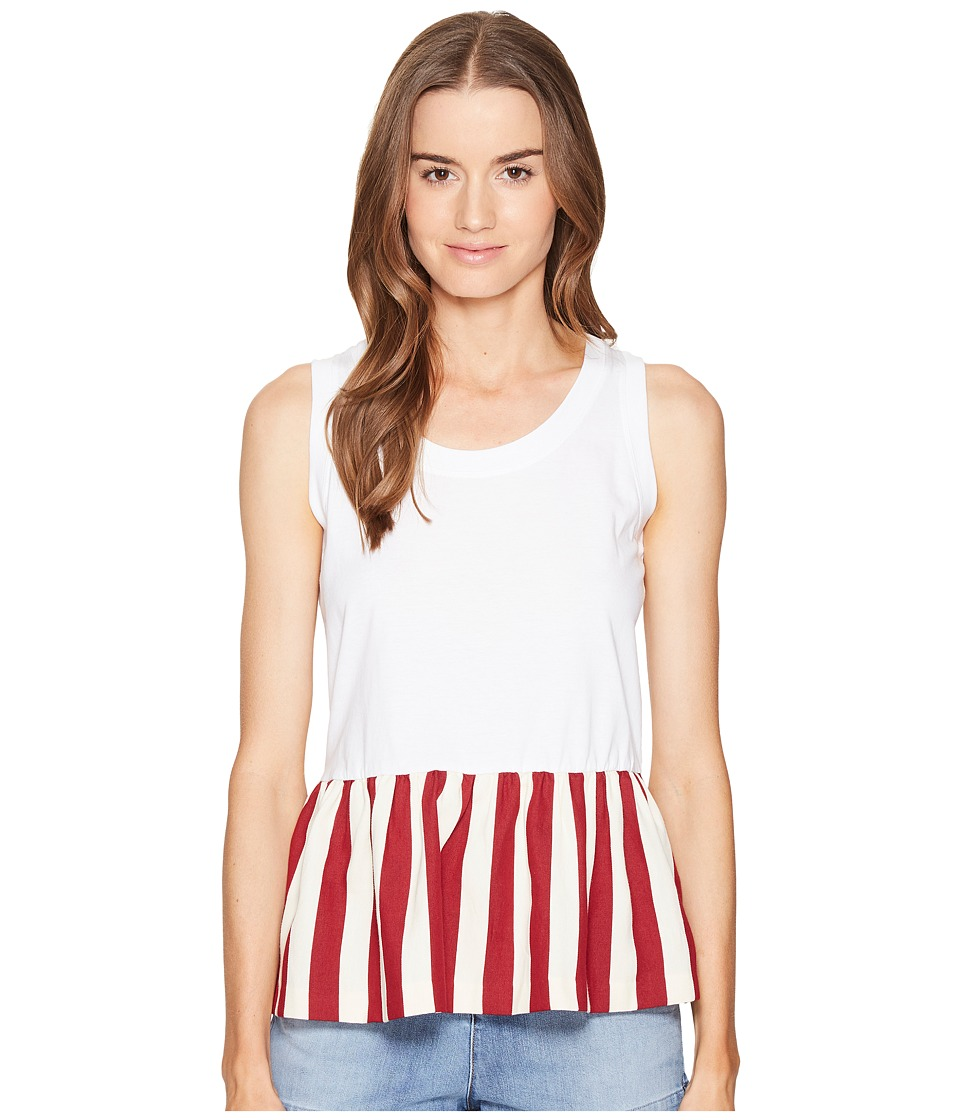 RED VALENTINO - Light Cotton Jersey Striped Cotton Top (White/Red) Women's Sleeveless