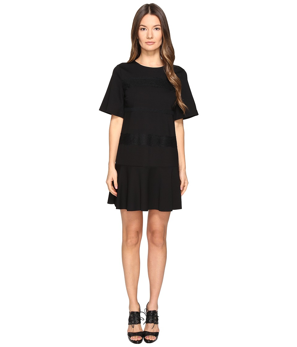RED VALENTINO - Ponte Jersey and Lace Ribbons Dress (Nero) Women's Dress