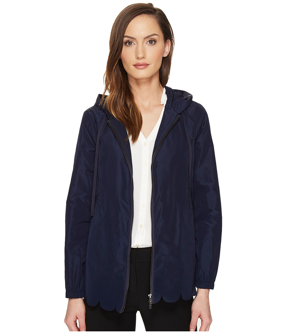 RED VALENTINO - Nylon Scallops Embroidery Jacket (Blue) Women's Coat
