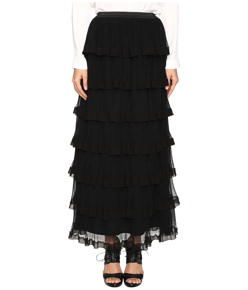 RED VALENTINO - Silk Georgette with Tulle Skirt (Nero) Women's Skirt
