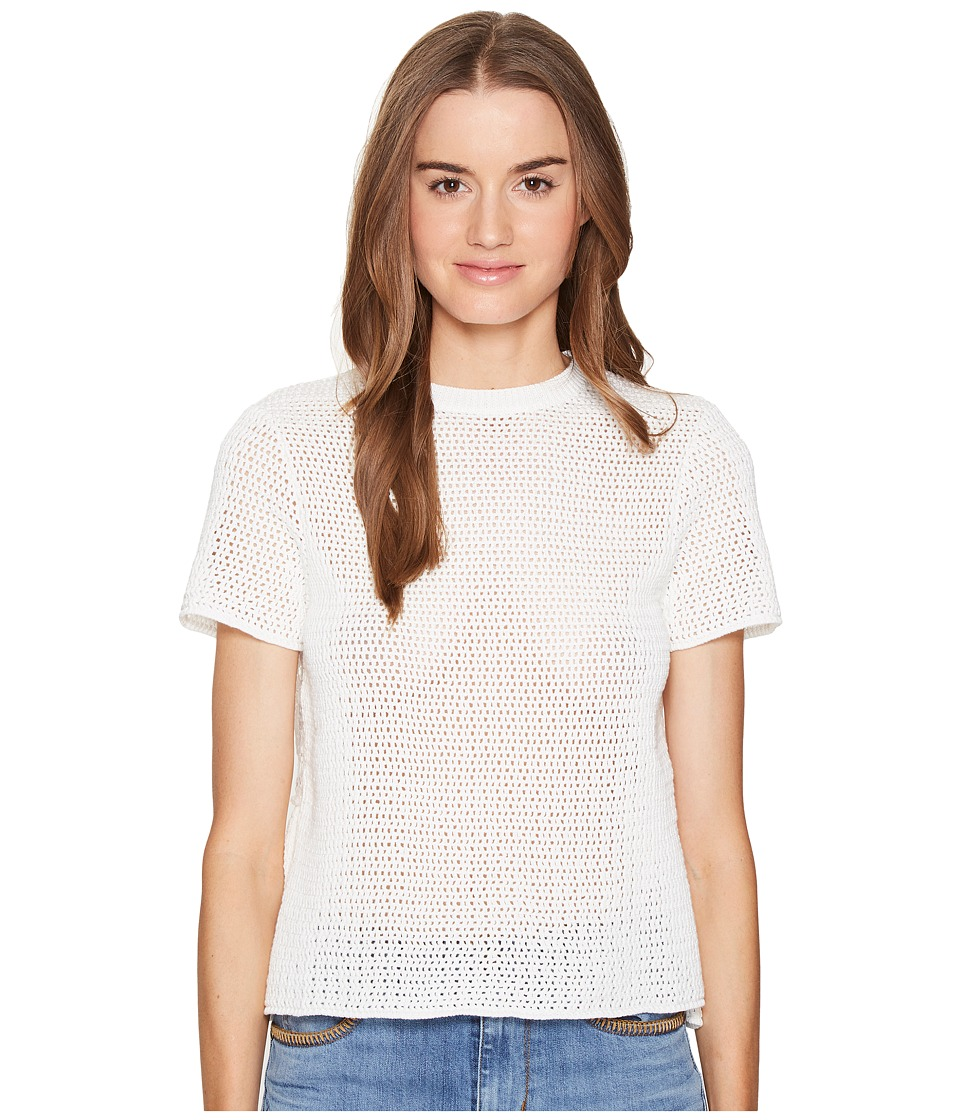 RED VALENTINO - Cotton Yarn Mesh Stitching Lace Top (Latte) Women's Short Sleeve Pullover