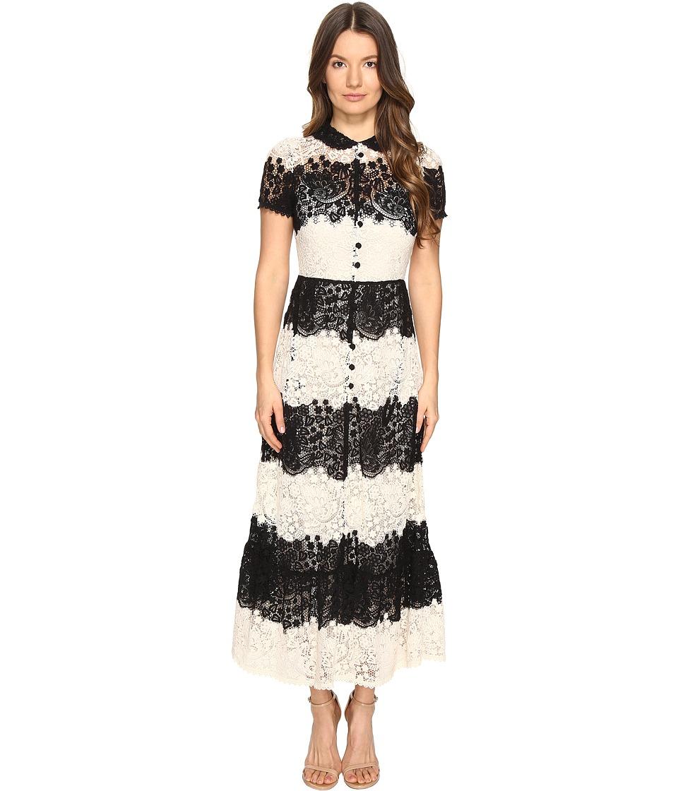 RED VALENTINO - Macrame Dress (Ivory/Nero) Women's Dress