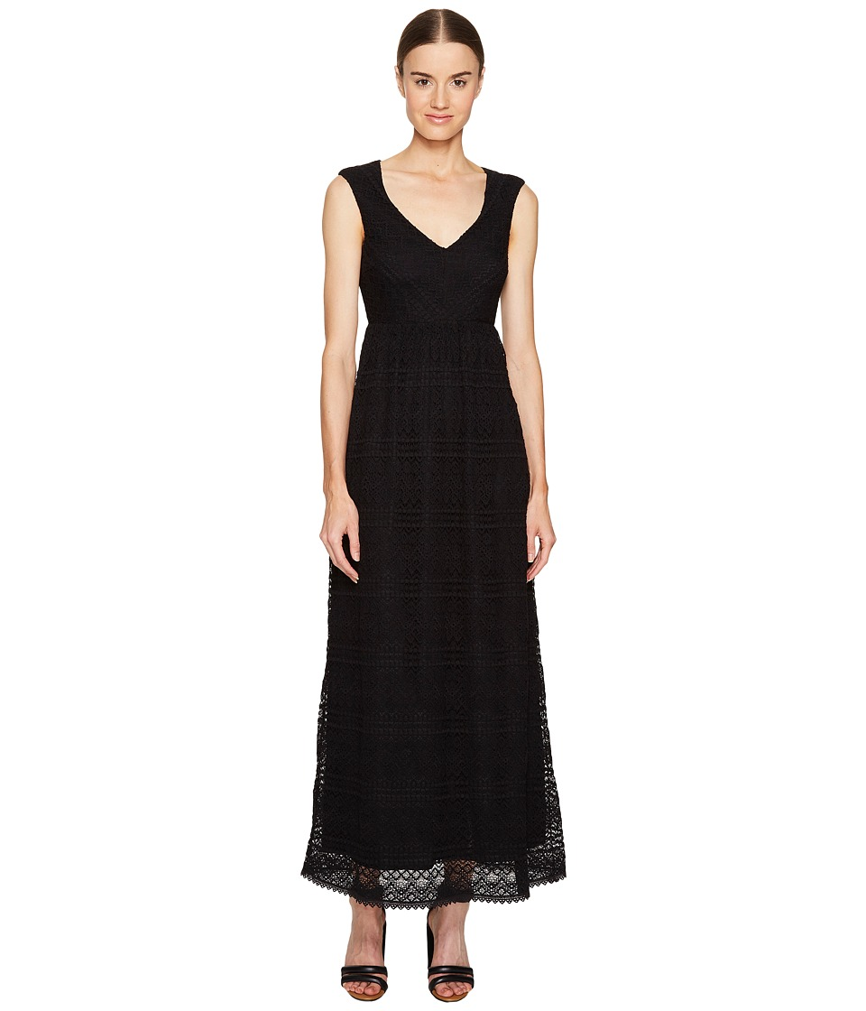 RED VALENTINO - Cotton Lace Jersey Dress (Black) Women's Dress
