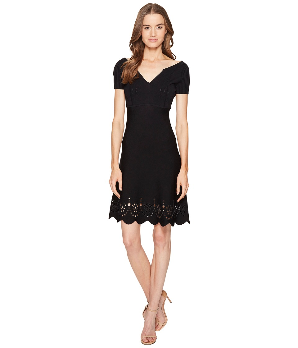 RED VALENTINO - Stretch Viscose Yarn Sangallo Embroidery Scallops Dress (Black) Women's Dress