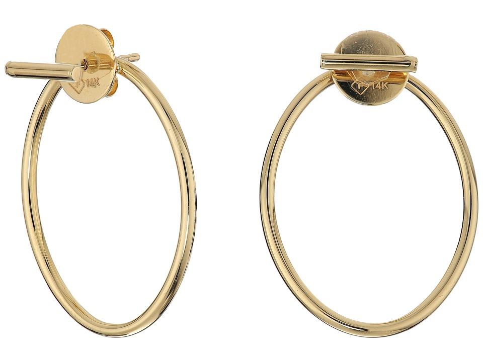 Dee Berkley - 14KT Yellow Gold Oval Front/Back Earrings (Yellow Gold) Earring