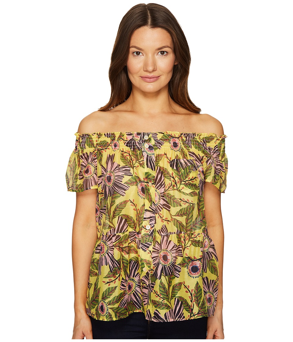 RED VALENTINO - Passion Flower Silk Cotton Top (Limone) Women's Clothing