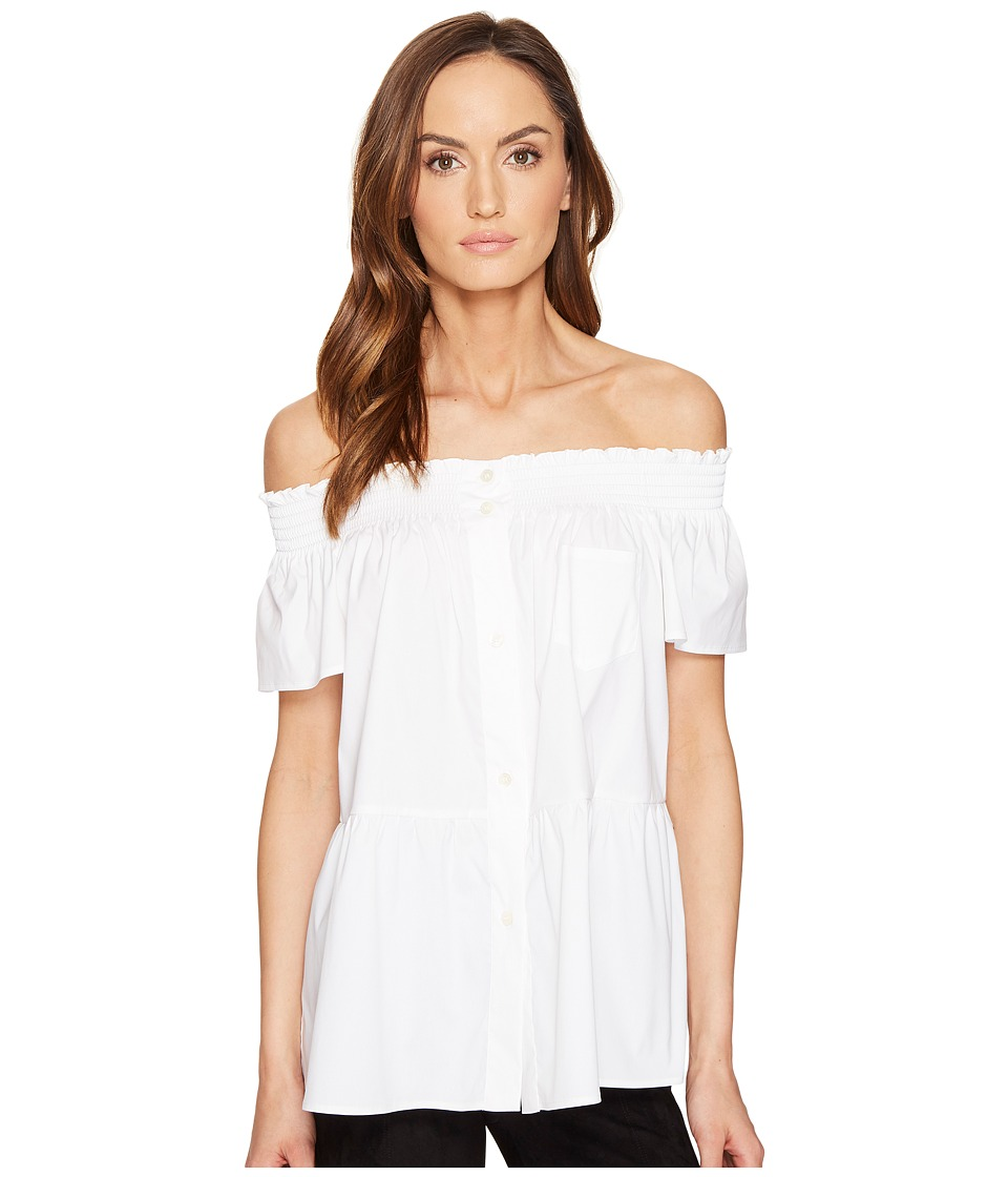 RED VALENTINO - Cotton Stretch Poplin Top (White) Women's Clothing