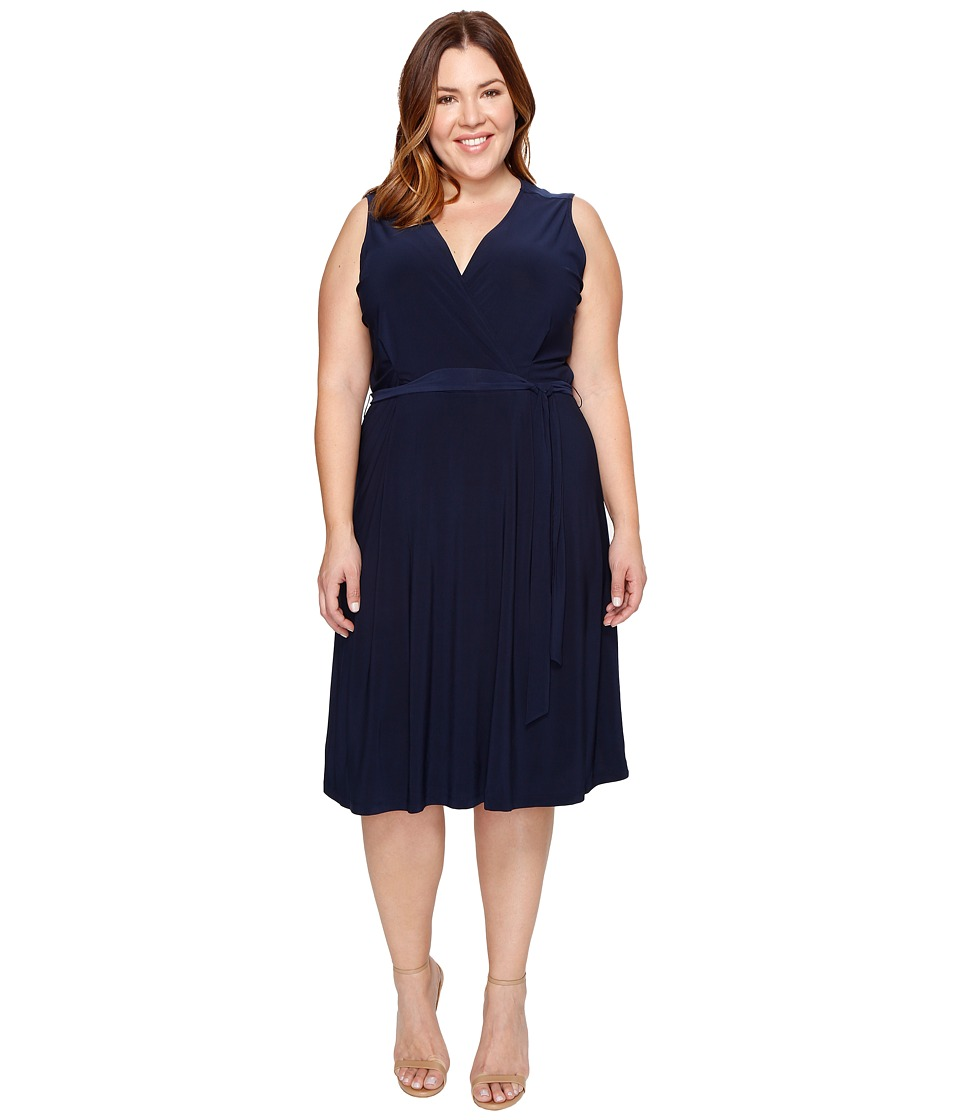 B Collection by Bobeau - Plus Size Addie Wrap Dress (Navy) Women's Dress