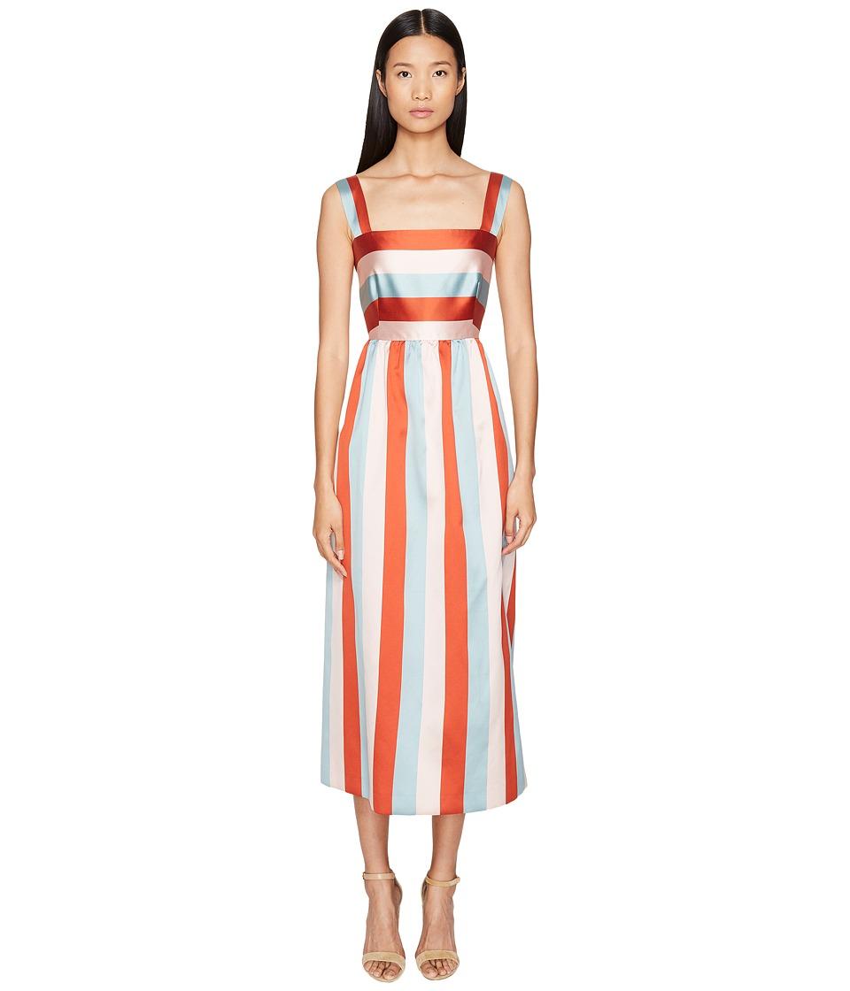 RED VALENTINO - Striped Twill Taffeta Dress (Poudre) Women's Dress