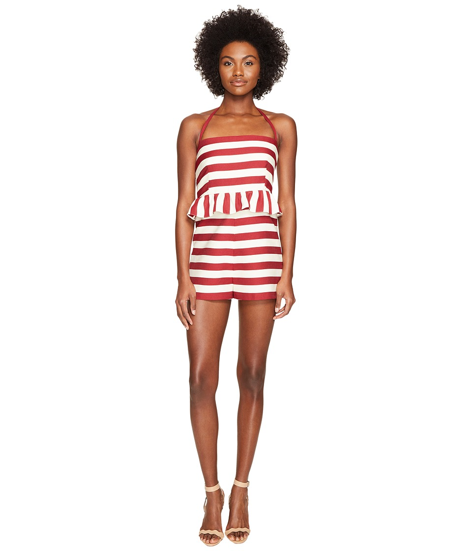 RED VALENTINO - Striped Cotton Romper (Red/White) Women's Jumpsuit & Rompers One Piece