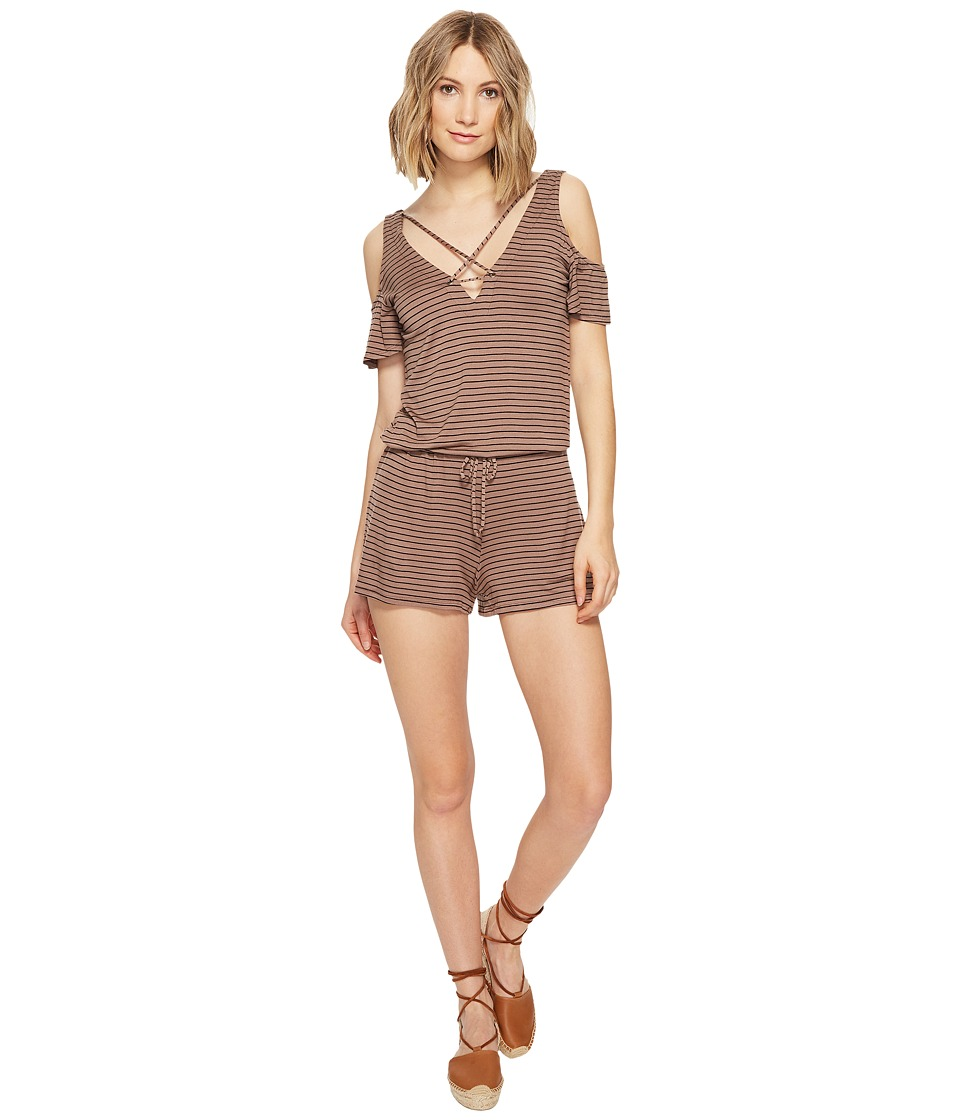 Project Social T - Bettie Romper (Mocha/Black) Women's Jumpsuit & Rompers One Piece