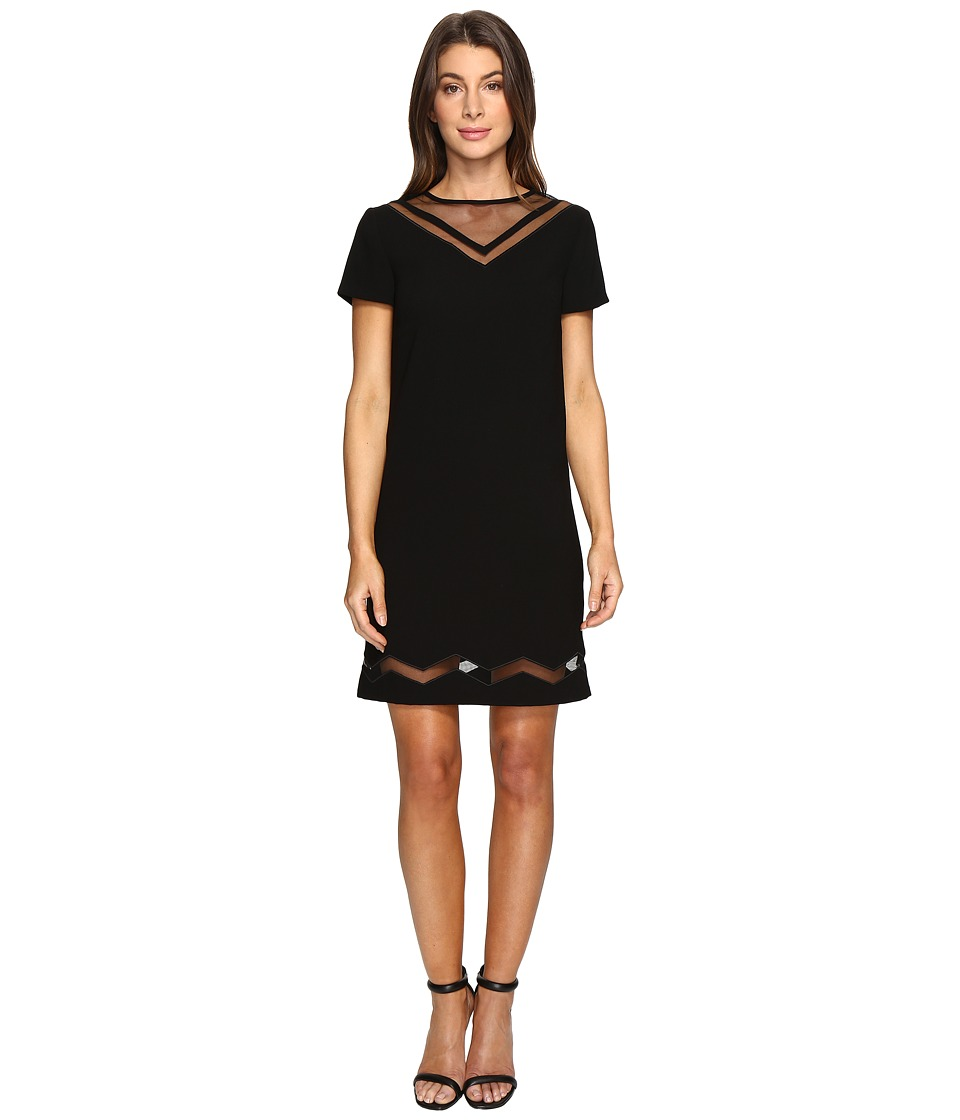 Tahari by ASL - Mesh Inset Sporty Shift Dress (Black) Women's Dress