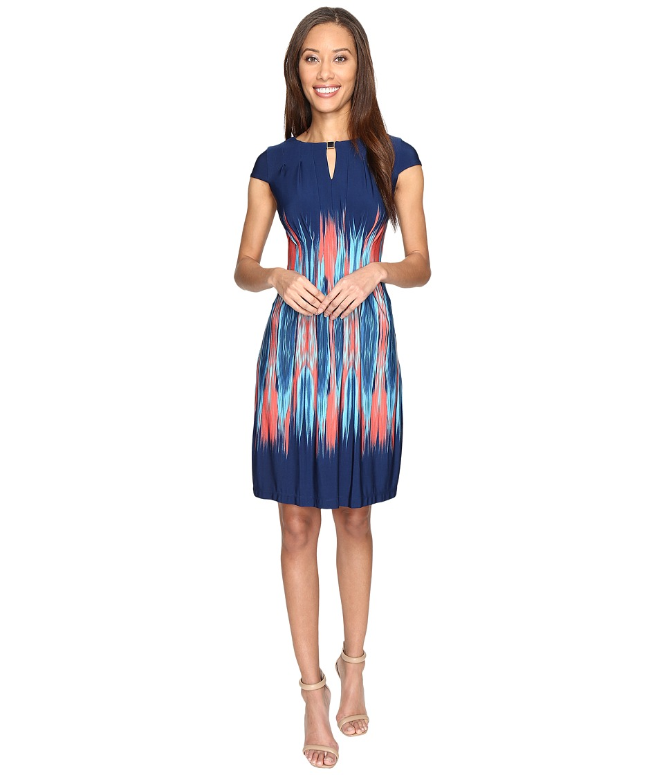Tahari by ASL - Flame Print Jersey Sheath Dress (Navy/Coral/Turquoise) Women's Dress