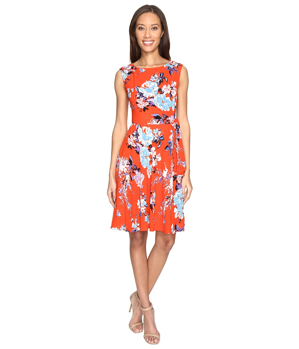 Tahari by ASL - Textured Crepe Floral Tie Side A-Line Dress (White/Flame/Sky) Women's Dress