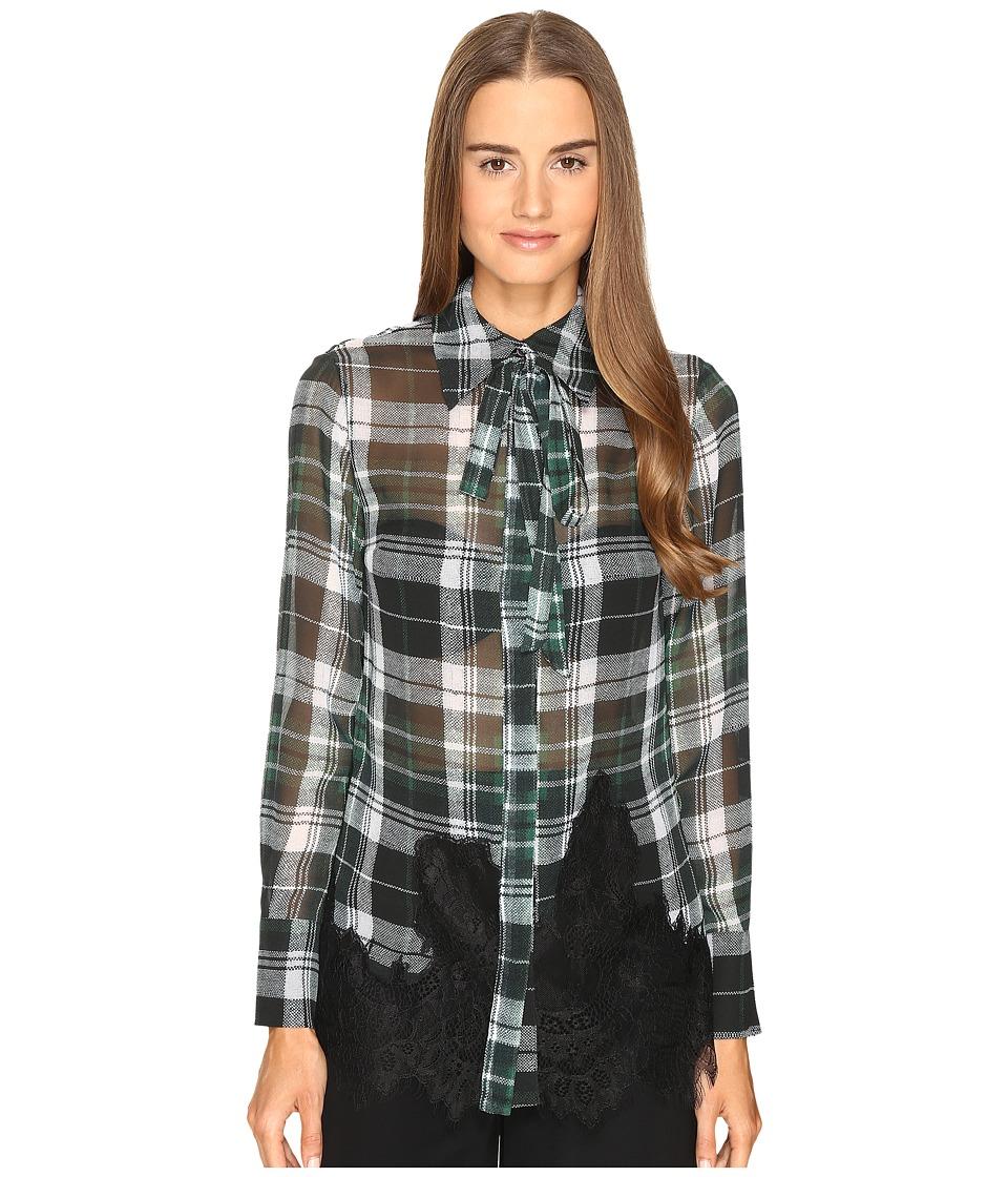 McQ - Fluid Shirt (Green Tartan) Women's Long Sleeve Button Up