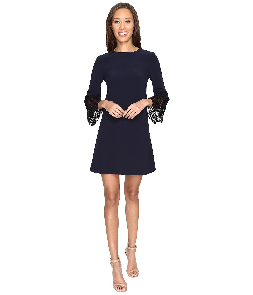 Tahari by ASL - Lace Bell Sleeve Navy Shift Dress (Navy) Women's Dress