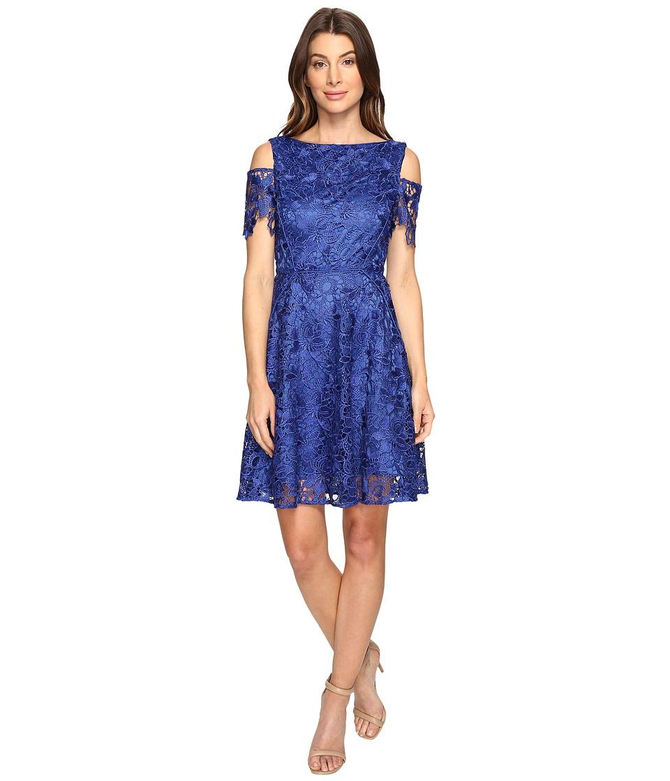 Tahari by ASL Cold Shoulder Lace A-Line Dress (Cobalt) Women