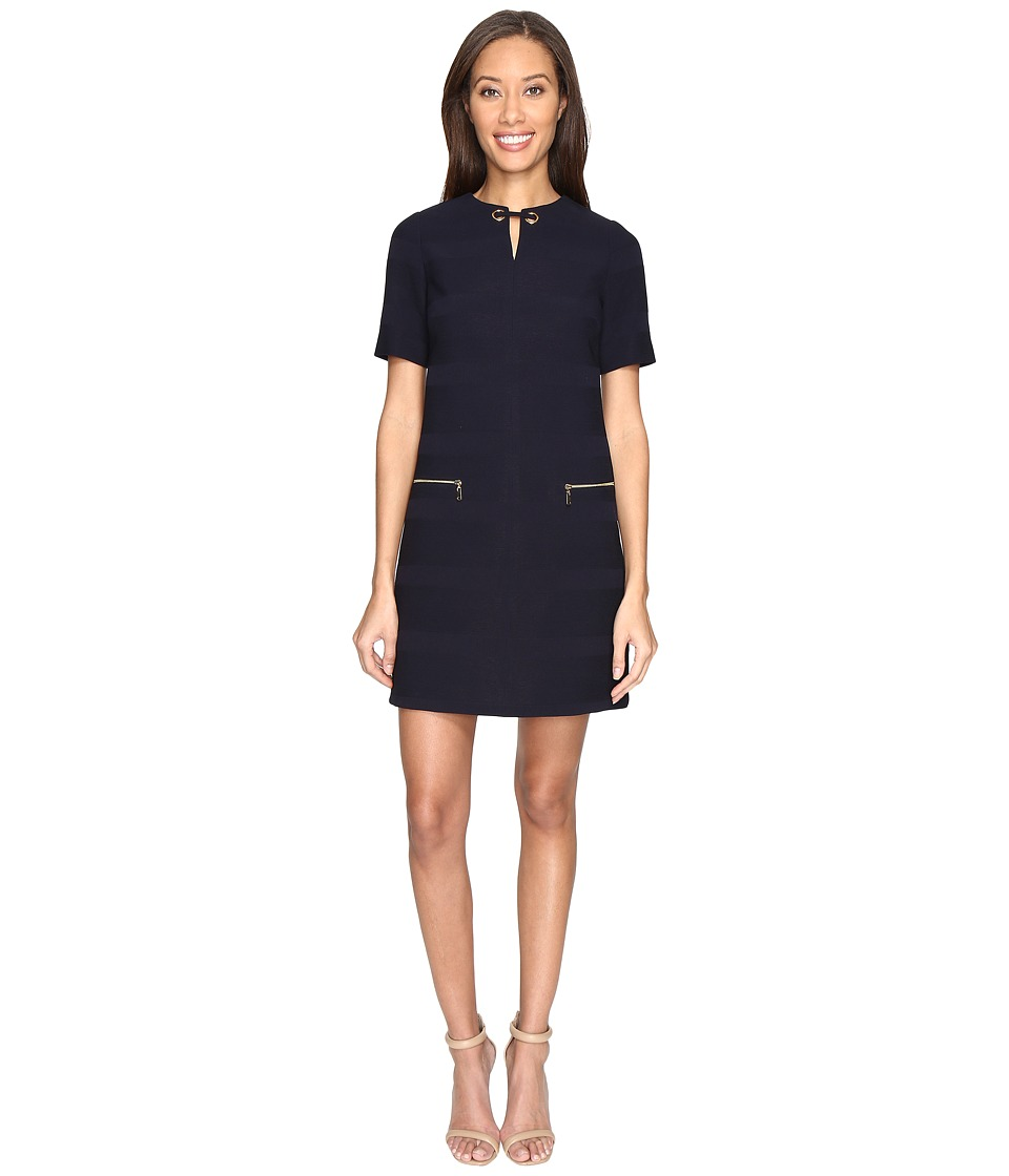 Tahari by ASL - Textured Scuba Neck Detail Shift Dress (Navy) Women's Dress