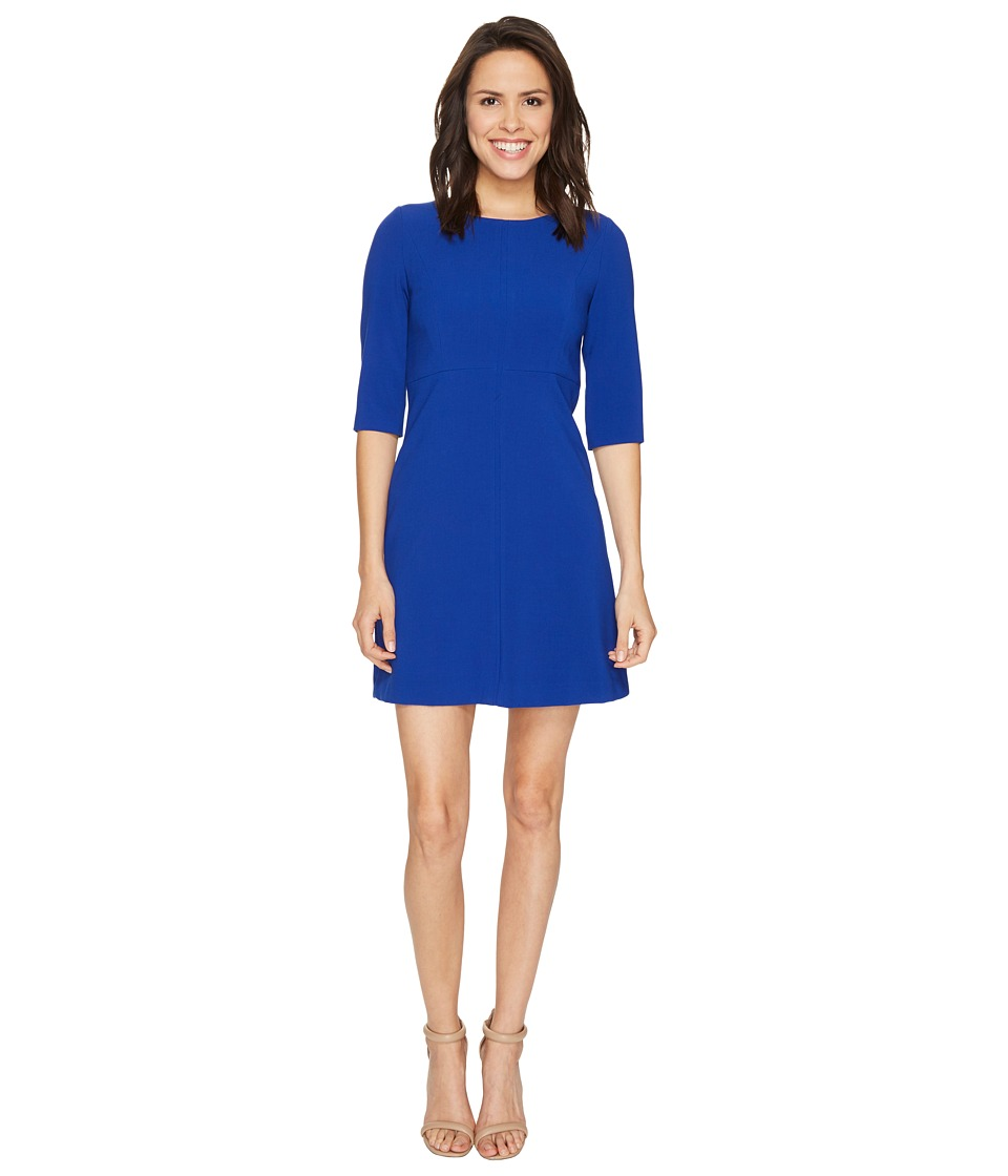 Tahari by ASL - Classic Double Woven Sleeved A-Line Dress (Cobalt) Women's Dress