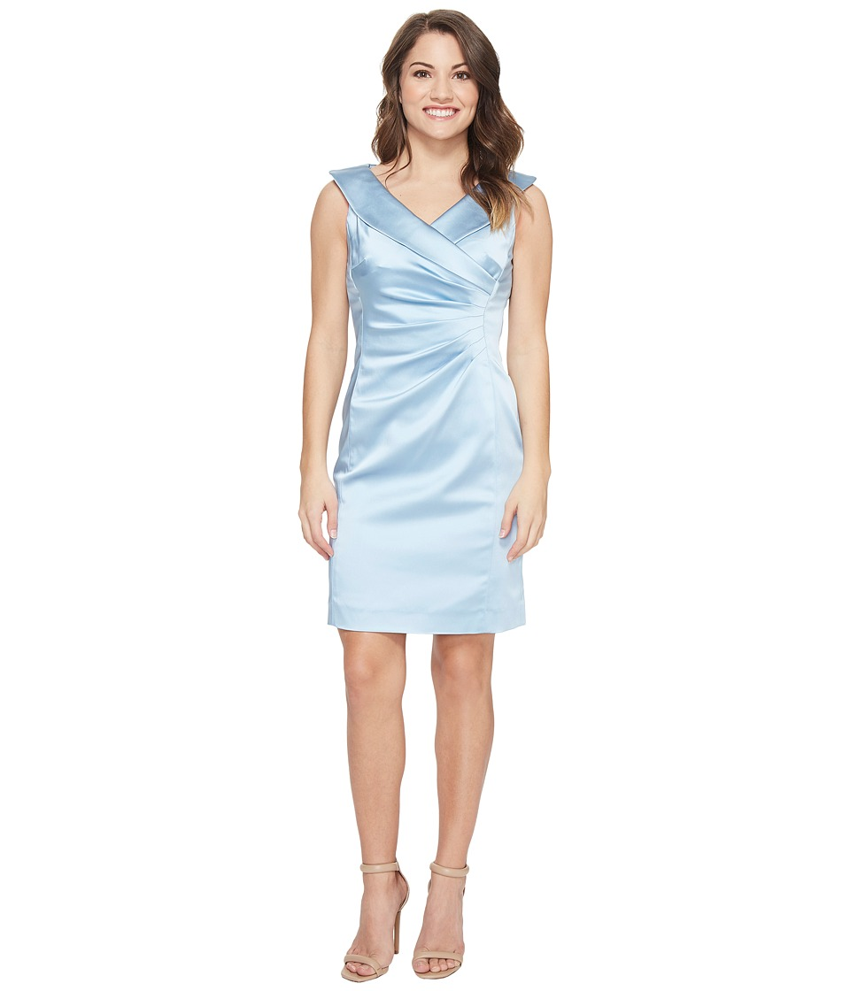 Tahari by ASL Petite - Petite Stretch Satin Portrait Collar (Sky Blue) Women's Dress