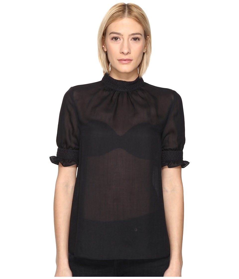 McQ - Fluid Trim Blouse (Black) Women's Blouse