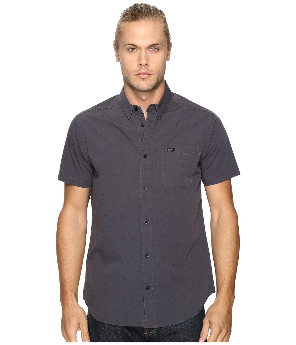 RVCA - VA Dobby Short Sleeve (Black) Men's Clothing