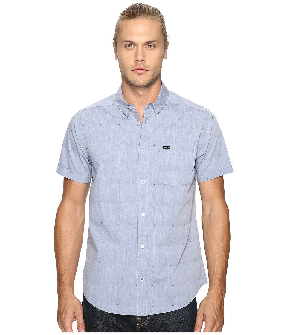 RVCA - VA Dobby Short Sleeve (Inmate Blue) Men's Clothing