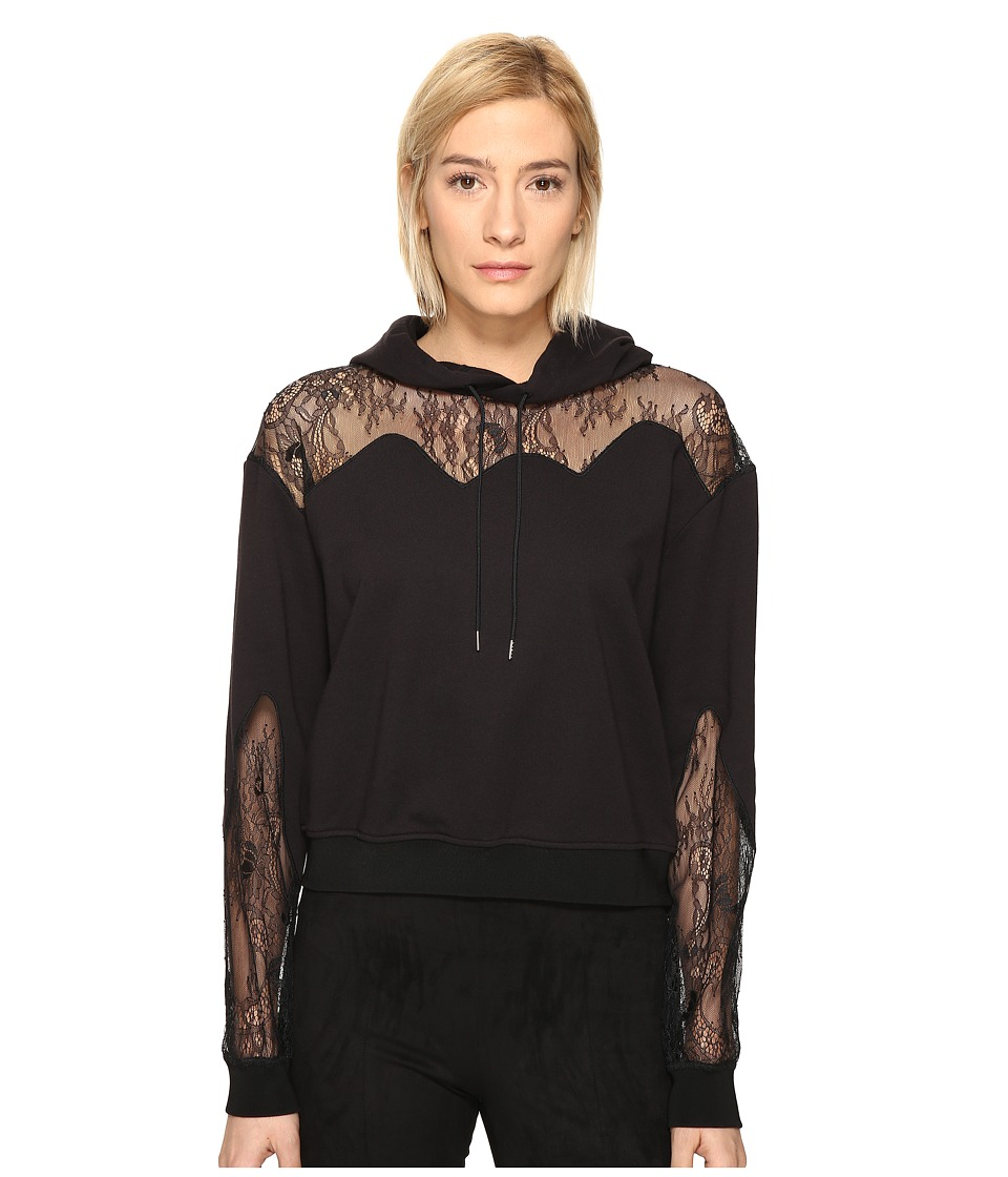 McQ - Lace Trim Hoodie (Black) Women's Sweatshirt