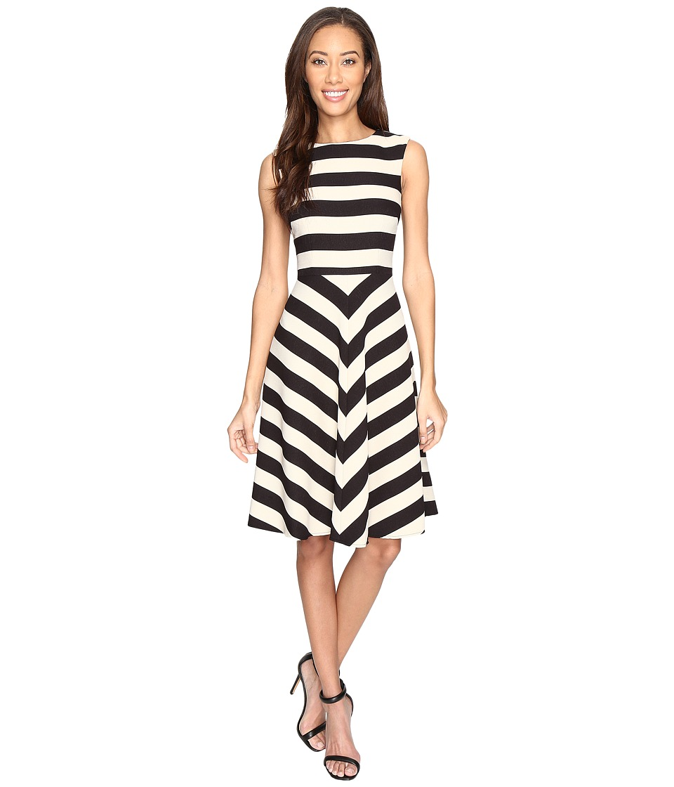 Tahari by ASL - Textured Scuba Mitered Stripe Dress (Black/Stone) Women's Dress